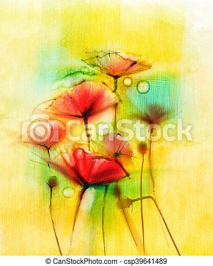 Watercolor red poppy flowers painting flower paint in soft color watercolor red poppy flowers painting csp39641489 mightylinksfo
