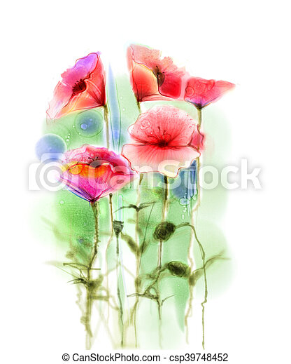 Watercolor red poppy flowers painting flower paint in soft stock watercolor red poppy flowers painting csp39748452 mightylinksfo Image collections