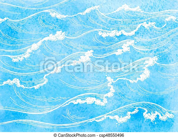 Watercolor sea background Clipart Image