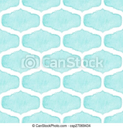 Watercolor seamless pattern with victorian frames on the white background, aquarelle. Vector illustration.  - csp27069434