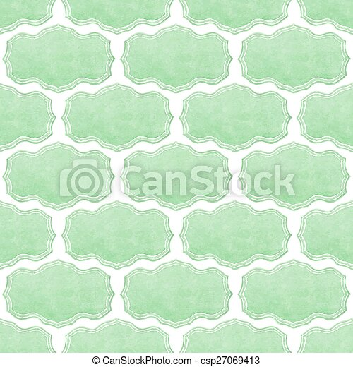 Watercolor seamless pattern with victorian frames on the white background, aquarelle.  Vector illustration.  - csp27069413