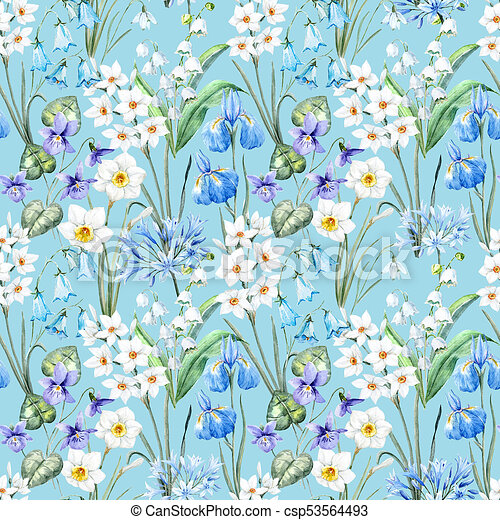 Watercolor Spring Floral Pattern Beautiful Pattern With Nice