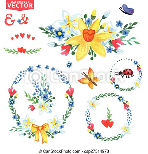 Watercolor Spring Flowers Wreathsgroup Watercolor Flowersinsects