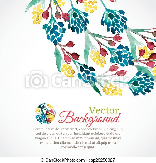 Watercolor spring frame with colorful flowers - csp23250327