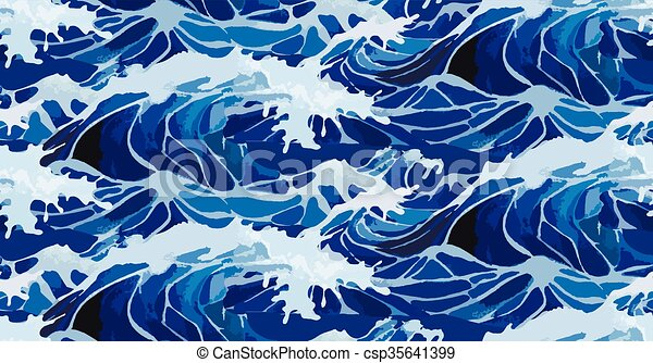Watercolor  storm waves pattern - csp35641399