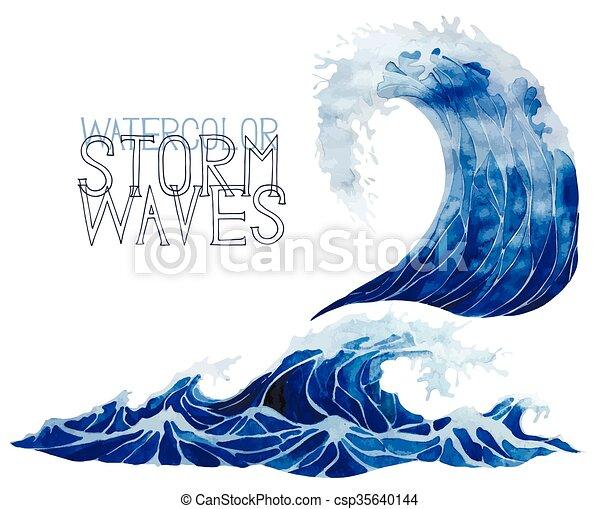 Watercolor storm waves set - csp35640144