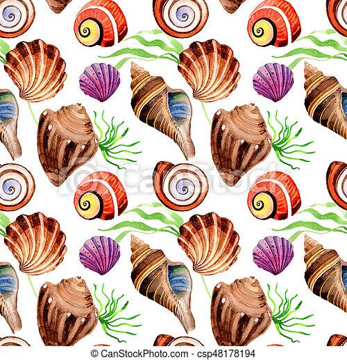 Watercolor summer beach seashell tropical elements pattern, underwater creatures. - csp48178194