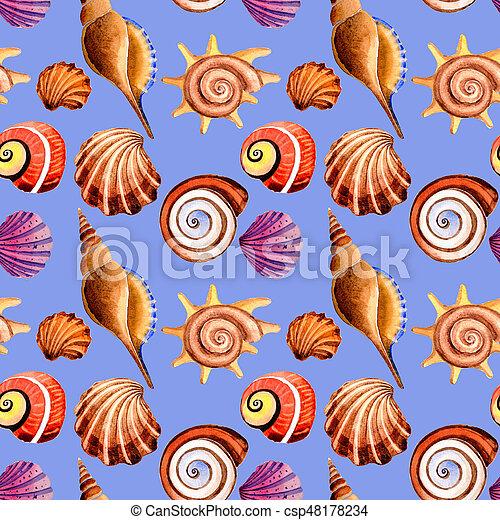 Watercolor summer beach seashell tropical elements pattern, underwater creatures. - csp48178234