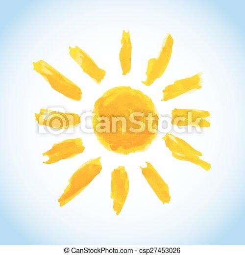 watercolor sun on blue sky - csp27453026