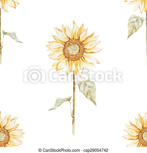 Watercolor Sunflower Pattern Beautiful Vector With Eps