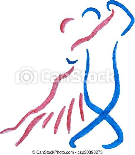 Watercolor tango couple. - csp30398273