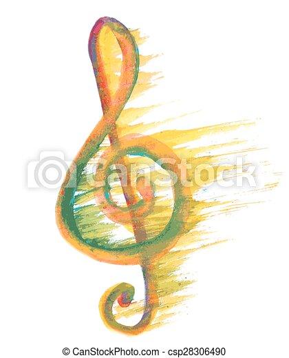 watercolor treble clef g on white - csp28306490