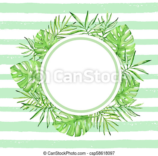 Watercolor Tropical Floral Frame With Palm Leaves Round Watercolor Tropical Floral Frame With Palm Leaves And Green Lines On Canstock Find the perfect tropical leaf stock illustrations from getty images. can stock photo