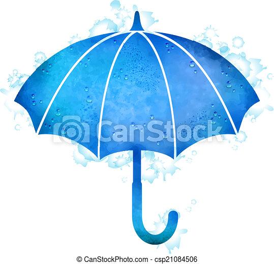 Watercolor Umbrella Rain Drops - csp21084506