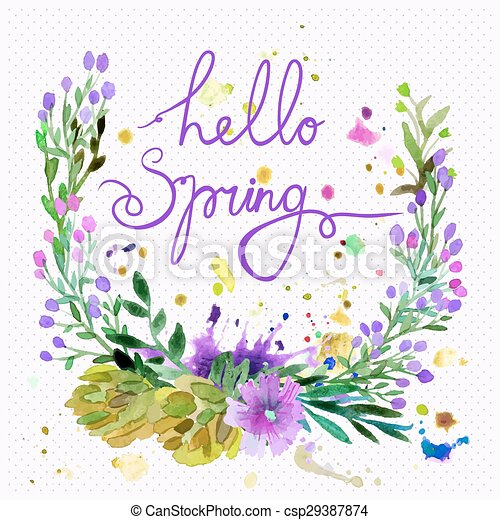 Floral Frame Design With Text Hello Spring