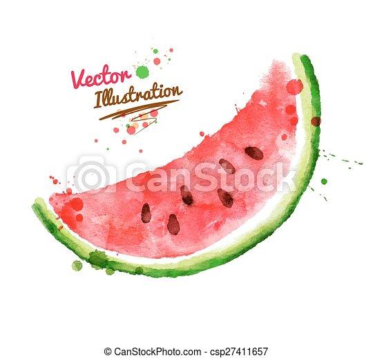 Watercolor watermelon. - csp27411657