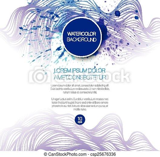 Watercolor wave background. Vector illustration - csp25676336