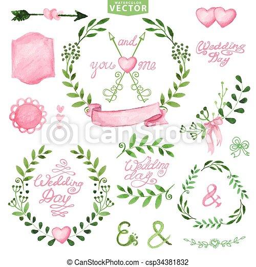 Watercolor Wedding set Branches,laurels wreath,pink decor