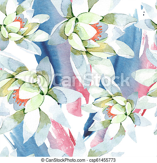 Watercolor White Lotus Flower Floral Botanical Flower Seamless Background Pattern