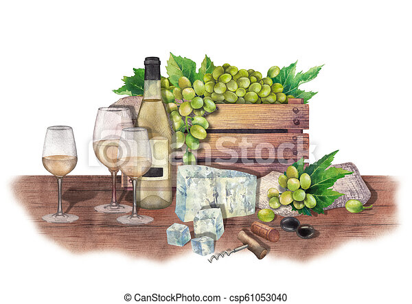 Watercolor Wine Glasses And Bottles Box Of Grapes Cheese Cork Corkscrew White Canstock