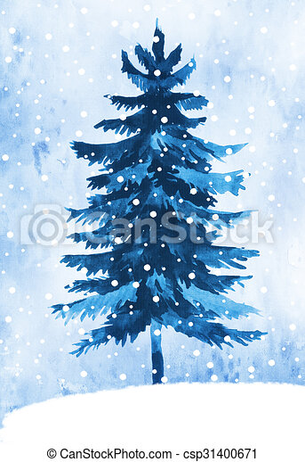 Watercolor winter fir tree - csp31400671