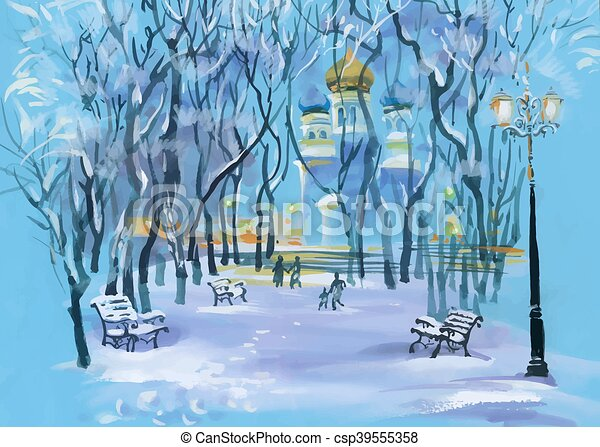 Watercolor winter landscape with church in park and people silhouettes. - csp39555358