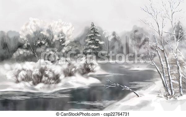 Watercolor Winterlandschap Digitale Watercolor Winter Bevroren