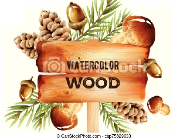 Watercolor wooden sign with forest decorations on background - csp75829633