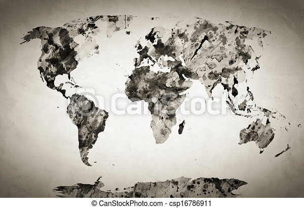 Watercolor world map black and white paint on paper retro watercolor world map stock illustration gumiabroncs Gallery