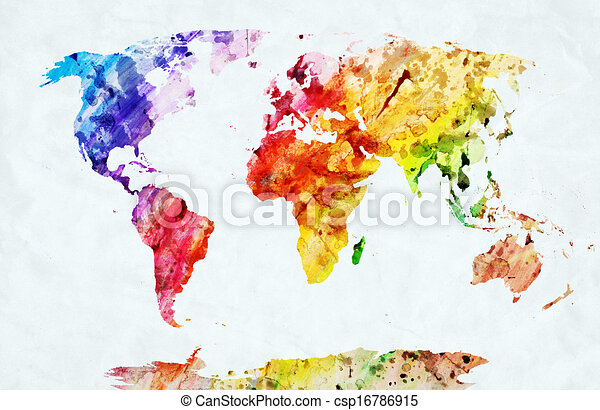 Watercolor world map - csp16786915