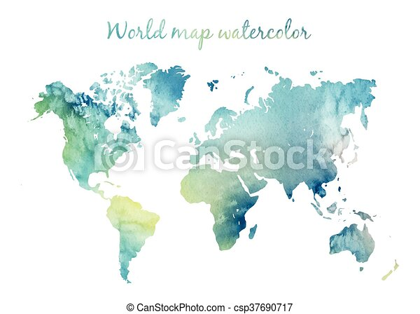 Watercolor world map in vector watercolor world map in vector on watercolor world map in vector gumiabroncs Image collections