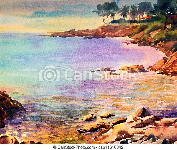 Watercolor zeezicht schilderij for Schilderij zeezicht