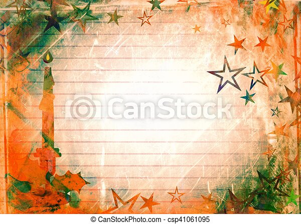 Watercolour Christmas Candle Paper - csp41061095