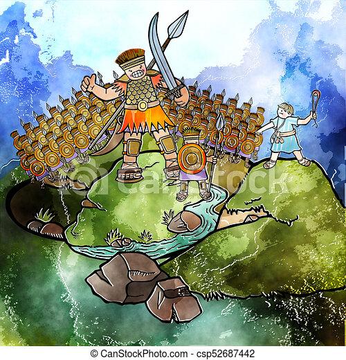 Watercolour David and Goliath - csp52687442
