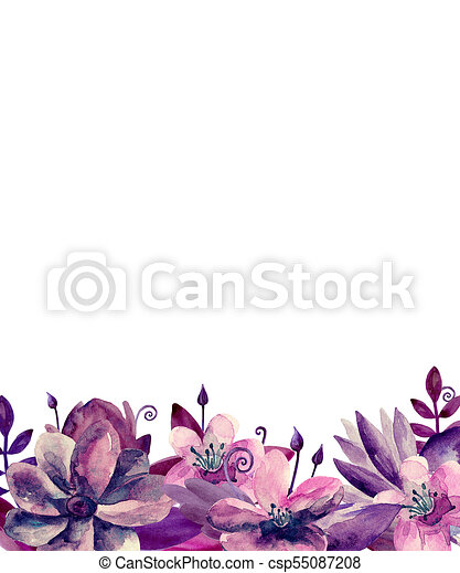 Watercolour pink and purple flowers floral bouquet greeting card watercolour pink and purple flowers floral bouquet greeting card design template csp55087208 m4hsunfo