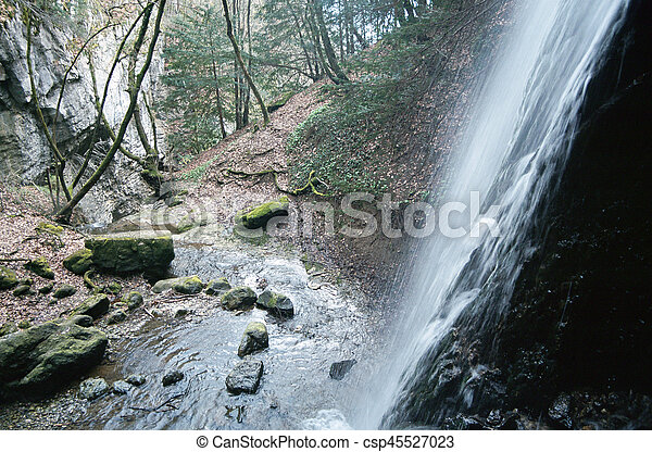Waterfall Angon on Annecy lake, Savoy - csp45527023