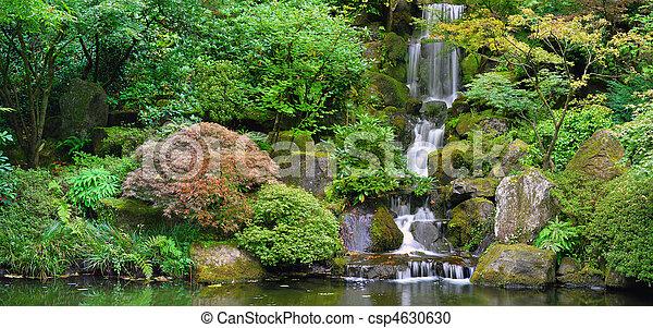 Waterfall at Japanese Garden Panorama - csp4630630