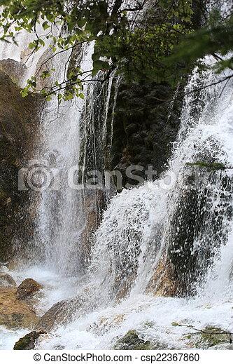 waterfall at jiuzhaigou   - csp22367860