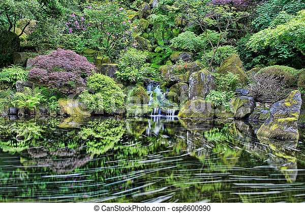 Waterfall at Portland Japanese Garden - csp6600990