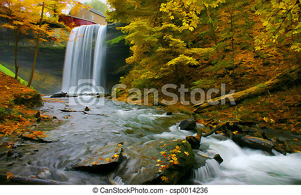 Waterfall Dig Art - csp0014236