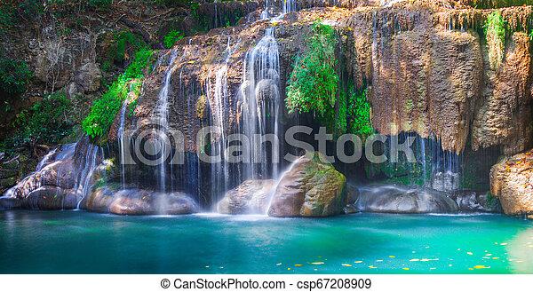Waterfall Erawan in Kanchanaburi, Thailand - csp67208909