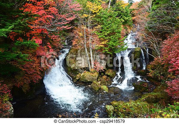 Waterfall in autumn - csp29418579