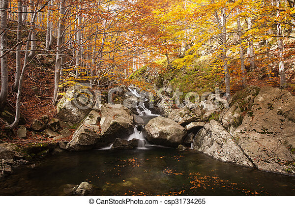 Waterfall in autumn - csp31734265