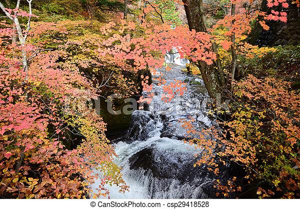 Waterfall in autumn - csp29418528