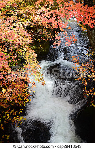 Waterfall in autumn - csp29418543