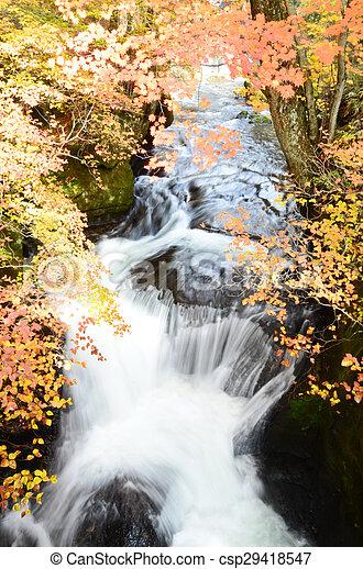 Waterfall in autumn - csp29418547