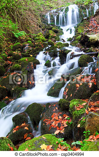 Waterfall in autumn - csp3404994