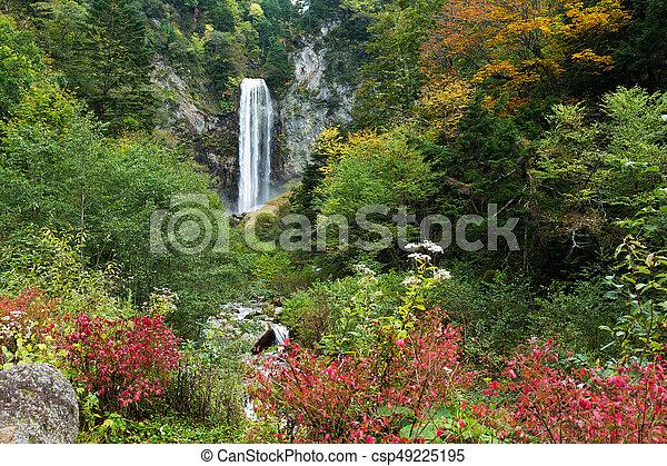 Waterfall in autumn - csp49225195