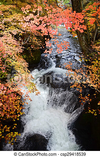 Waterfall in autumn - csp29418539