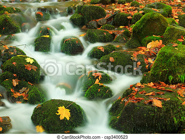 Waterfall in autumn - csp3400523